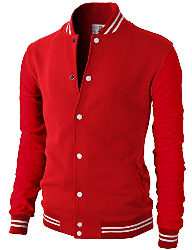 - H2H Mens Slim Fit Varsity Baseball Bomber Cotton Lightweight Premium Jacket  Cmoja083-firered Small