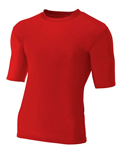 A4 Sportswear Red Adult Small Half Sleeve High Performance Compression Moisture Wicking Shirt