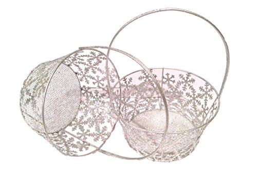 Pier 1 Silver Snowflake Christmas Handle Baskets (Set of 2)
