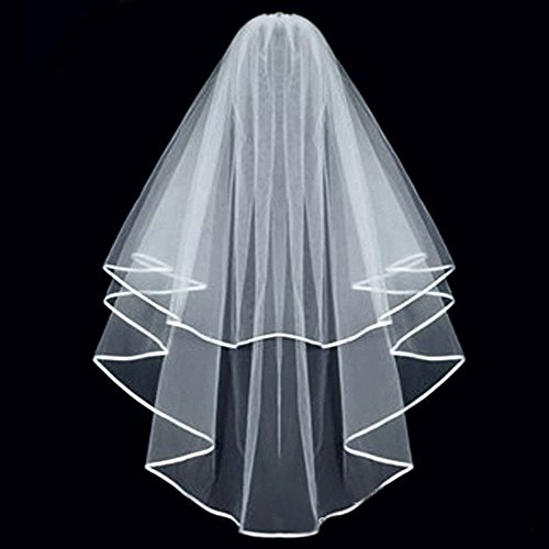 Echodo Bridal Wedding Veil White Double Ribbon Edge Center Cascade Bridal Veil with Comb Wedding Accessories (Center Wedding)