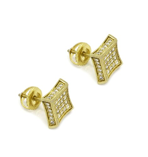 Mens 7mm Gold Tone Cz Micro Pave Iced Out Hip Hop Square Stud Earrings (Micro Pave Earrings)