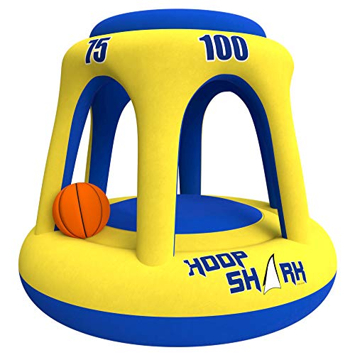 Swimming Pool Basketball Hoop Set by Hoop Shark - Yellow/Blue 2020 Edition - Inflatable Hoop with Ball Included - Perfect for Competitive Water Play and Trick Shots - Ultimate Summer Toy (Best Pool Trick Shots Ever)