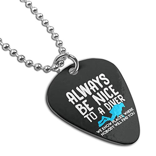 Z-YY Nice Diving Diver Steel Pet Tag Keychain Guitar Pick Necklace Pendant