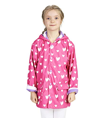 Hatley Girls' Big Printed Raincoats, Color Changing Sweethearts 12 ()