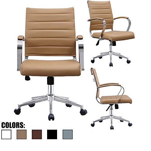 2xhome Tan Beige Modern Contemporary Tan Brown Mid Back Ribbed PU Leather Swivel Tilt Adjustable Chair Executive Manager Office Conference Room Work Task Computer Ribbed Desk Chrome Wheels - Brown Leather Beige