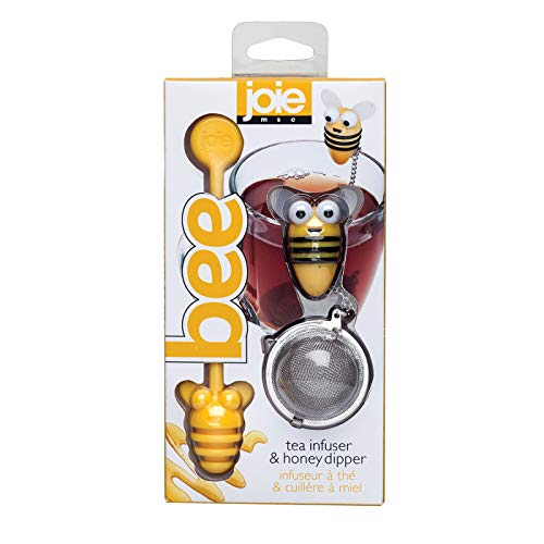 Joie Bee Themed Stainless Steel Loose Leaf Tea Infuser Ball and Honey Dipper Stick Set (Bee Diffuser Tea)
