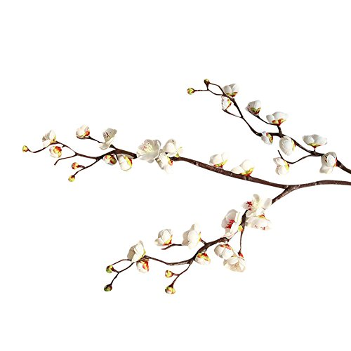 Plum Branch Flower (Artificial Flower 93cm Artificial Plum Blossom Floral Arrangement DIY Fake Flowers Bouquet Branch for Wedding Home Office Party Hotel Restaurant Vase Decor (White))