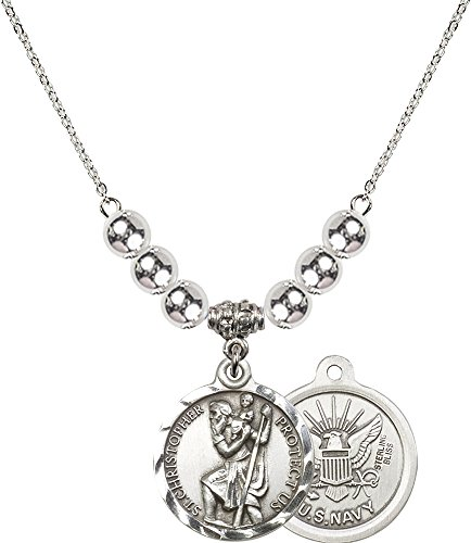 Rhodium Plated Necklace with 6mm Sterling Silver Beads & Saint Christopher / Navy Charm. (Sterling Silver Navy Charms)