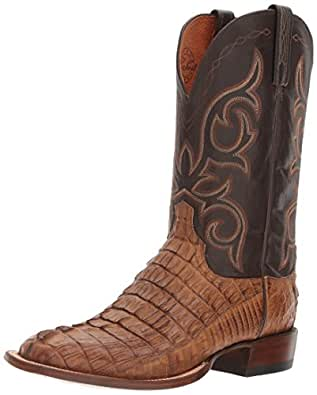 Lucchese Bootmaker Men's Haan Western Boot, Tan Burnished/Chocolate, 10 2E US