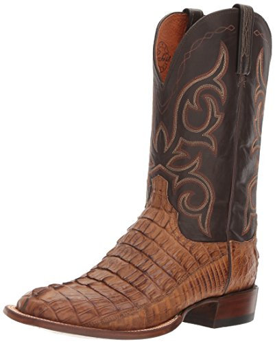 (Lucchese Bootmaker Men's HAAN Western Boot, tan Burnished/Chocolate, 8 D)