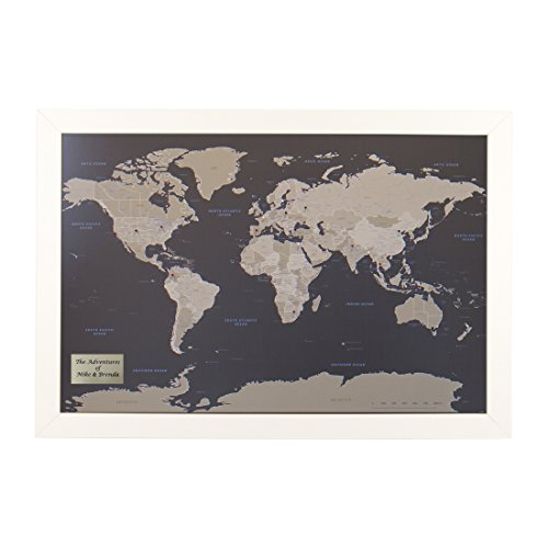 Personalized Earth Toned World Push Pin Travel Map with Textured White Frame and Pins 24 x 36 (White Personalized Print)