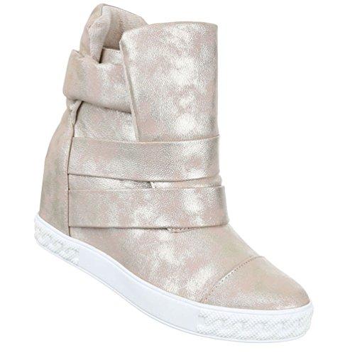 Damen Stiefeletten Schuhe Kurzschaft Moderne Keilboots Wedges Schwarz Grau 37 wkHk7mNz