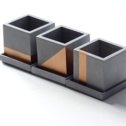 Set of 3 Copper Concrete Planters with Drainage Holes and Saucers