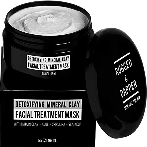 RUGGED & DAPPER - Face Mask for Men - 5.5 oz - Detoxifying Facial Treatment with Kaolin Clay & Aloe - Purifying & Deep Cleansing Formula Helps with Blackheads & Acne - Natural Ingredients