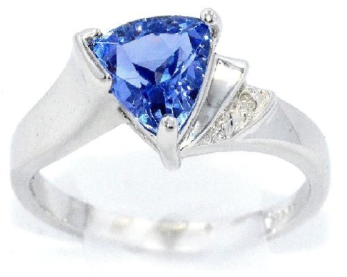 CZ Tanzanite & Diamond Trillion Ring .925 Sterling Silver Rhodium Finish Diamond Tanzanite Ring