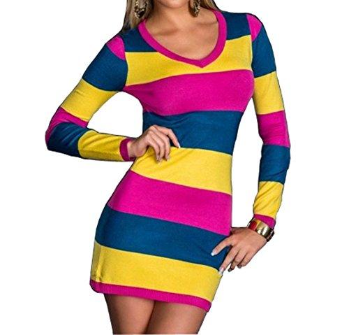 Womens Dames Pleine Longueur Robe Pull Rayé Sexy V-cou Jaune / Rose / Bleu