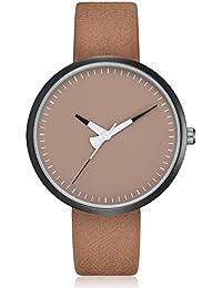 Mens Unique Simple Leather Strap Wrist Watch Minimalist Analog Quartz Business Watches for Men (Brown