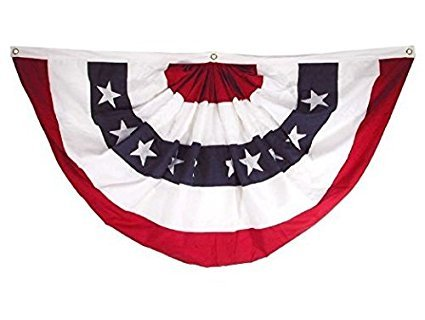 Patriotic Fan Bunting Pleated Polyester 18 X 36-inch Pkg/12 by WindStrong®