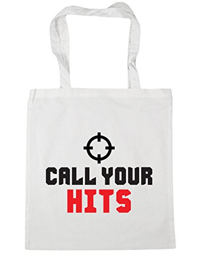 HippoWarehouse Call su Hits Tote Compras Bolsa de playa 42cm x38cm, 10litros blanco