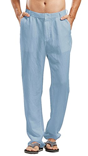 Casual Stretched Waist Loose Fit Linen Beach Pants (XX-Large, Blue) ()