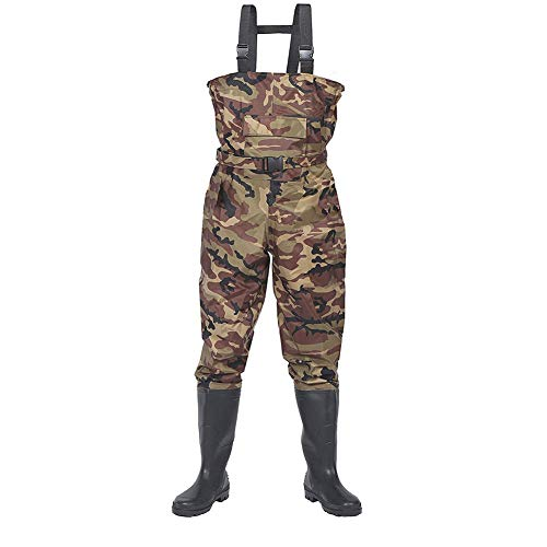 - AUPHIL Fly Fishing Waders for Men Women Water Proof Nylon PVC Chest Wader for Fishing Insulated Bootfoots Wader with Adjustable Suspender (Camo, 12)