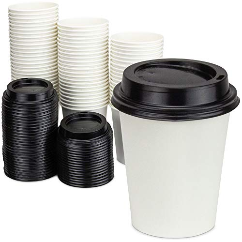 [100 Pack] 8 Oz Disposable White Paper Cups with Black Lids - On the Go Hot and Cold Beverage All-Purpose Sampling Portion Cup for Coffee, Espresso, Cortado, Latte, Cappuccino and Tea, Food Grade Safe