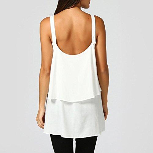 Backless Col Longue Pure Vest Double Couche Manches Femmes Section Adeshop Top Tank Couleur Gilet Blanc Tops Sans Lâche Casual Pansements Blouse V Débardeurs Shirt P7RxwZq