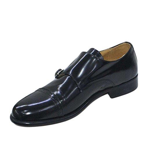 Scarpe uomo classiche nero doppie fibbie vera pelle lucida abrasivata francesine fondo cuoio genuine leather made in italy linea man