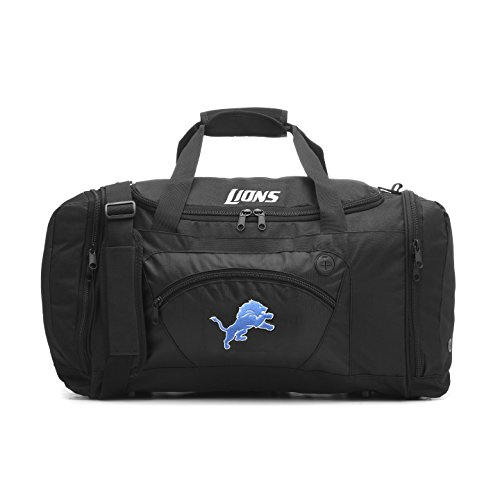 (Concept One Accessories NFL Detroit Lions Roadblock Embroidered Duffel Bag, 20-Inch, Black)