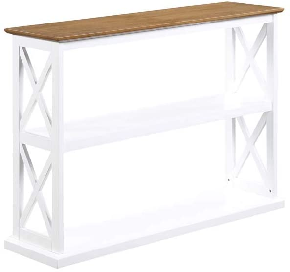Driftwood//White Convenience Concepts 502199WDFTW Oxford Deluxe 3-Tier Console Table