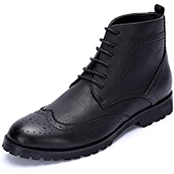 YINHAN Men's Carved Oxford Boots Lace up Leather Shoes