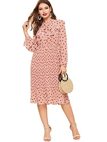- Verdusa Women's Polka Dot Tie Neck Ruffle Trim A-Line Flowy Swing Dress Pink M