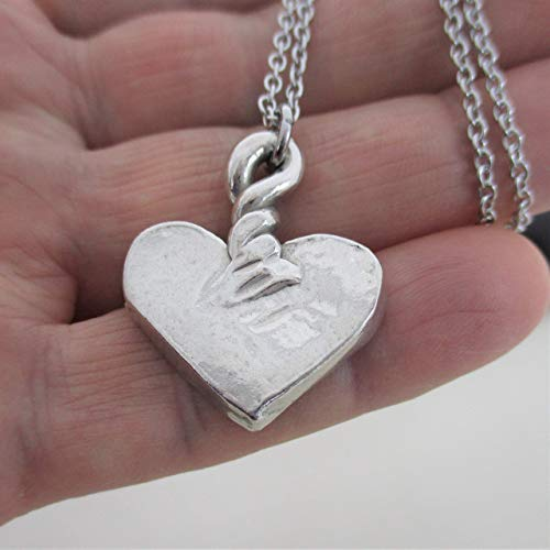 Made in USA Big Heart Necklace Silver Heart Pendant Heart for her silver Heart Jewelry Handmade Love ()