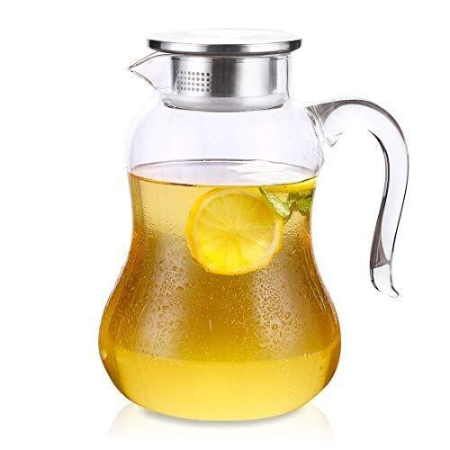 Glass Water Jug with Lid and Spout 2 Litre, Drip-Free Glass Pitcher for Hot/Cold Water, Ice Tea and Juice Beverage CHAJU (Size : 1.5L) by CHAJU