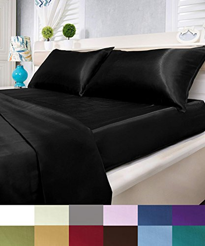 Satin Queen Sheets - Natural Life Home Ultra Soft and Silky Satin Sheet Set 4-Piece (Queen, Black)