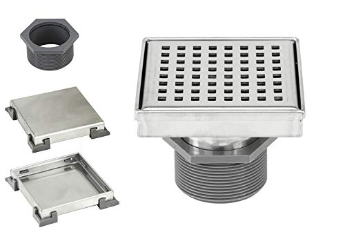 4 Inch Shower Square Shower Floor Drain - Square Checker Pattern Grate - Brushed 304 Stainless Steel - Bonus 2 IN 1 Reversible Tile Insert & Flat Grate and Threaded Adaptor (4 Inch Square Checker)