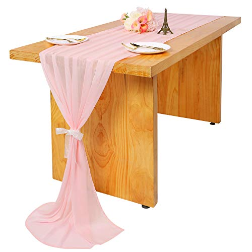 Woowland Pink Crinkled Chiffon Table Runner 27 x 120 inch, Slightly Shiny & Semi Sheer Wedding Chiffon Tablecloth Table Overlay, Romantic Bridal Shower Baby Shower Wedding Birthday Party Table Decor