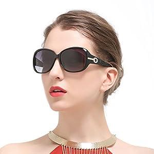 Duco Women's Shades Classic Oversized Polarized Sunglasses 100% UV Protection 6214 Black Frame Gray Lens