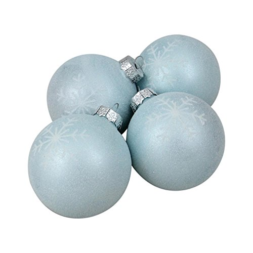 Northlight 4ct Blue and White Snowflake Decorated Christmas Glass Ball Ornaments 3