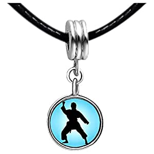 Chicforest Silver Plated Olympics taekwondo position Photo Blue Zircon Crystal December Birthstone Flower dangle Charm Beads Fits Pandora Charms