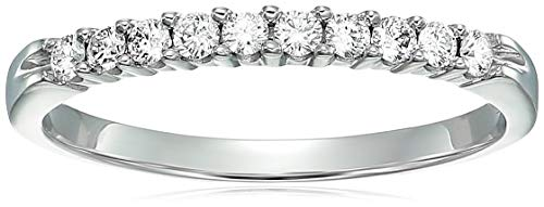 - AGS Certified SI2-I1 1/4 ctw Diamond Wedding Band 14K White Gold Size 6