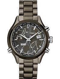 Timex Intelligent Quartz World Time, Stainless Steel Gunmetal Case, Black Dial, Gunmetal Bracelet - T2N946