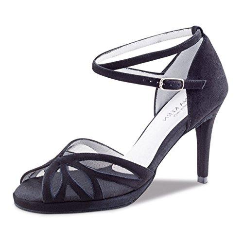 Anna Kern - Mujeres Zapatos de Baile 930-80 - Ante Negro - 8 cm Negro