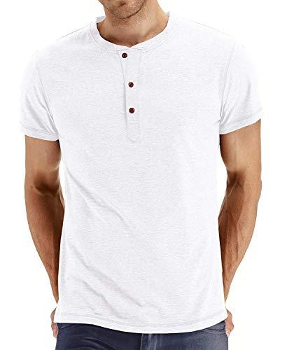(Zaveleng Fashion Casual Front Placket Basic Long/Short Sleeve Henley T-Shirts (White,)
