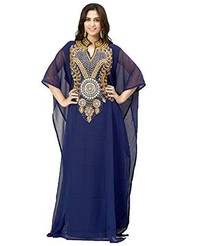 - OKM Women's Dubai Style Kaftan Caftan Farasha Maxi Dress DN16 - Navyblue