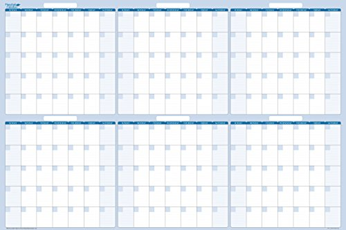Dry and Wet 180-Day Erasable Wall Calendars by PlanetSafe Calendars. Best in It's Class. Non-ghosting/Staining. (24 x 38, Sky Blue)