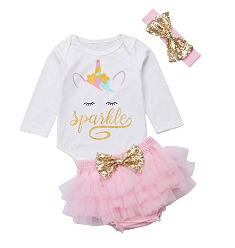 3 Style Baby Girl Gold Letter Print Sleeveless Vest +Gold Sequins Shorts Pants Outfit Set +Bowknot Headband (White, 6-12M) (Band Gold Porcelain)