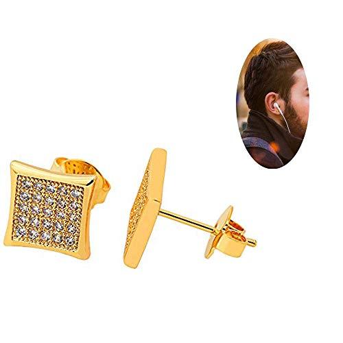 Bala Big Square 9mm Gold Plated Clear Cz Diamond Unisex Studs Earrings ()