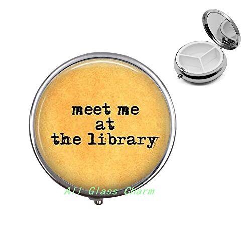 Meet me at The Library-Book Lover-Bookish Jewelry-Library Pill Box-Bookworm-Love to Read-Library Jewelry-Reading Pill Case,AS067