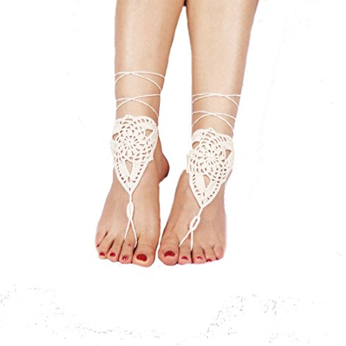 Flyusa Handmade Crochet Barefoot Sandals Wedding Beach Jewelry Shoes Footless Sandles Foot Jewelry Summer Shoes(Beige)